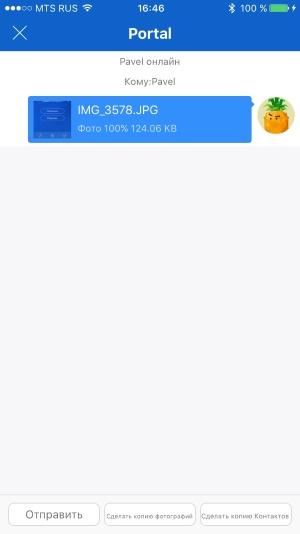 переданные файлы в окне приложения на телефоне